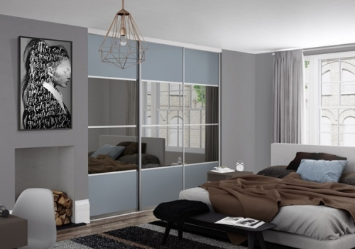 Beijing 4 Panel Equal Split with Shadow Blue Glass and Grey Mirror with Silver Aluminium Tracks and Framework