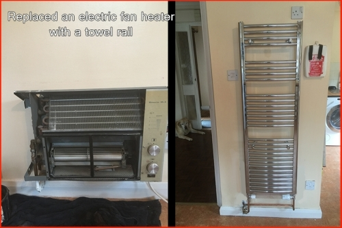 Changes an old fan heater for a modern towel rail