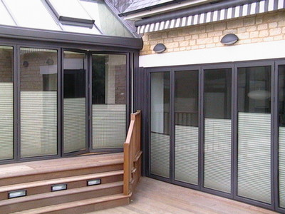 Pleated blinds for folding doors.
