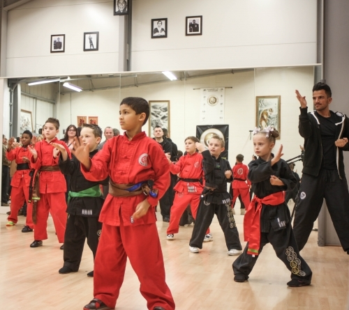 Peter Andre and Junior students training their Kung Fu