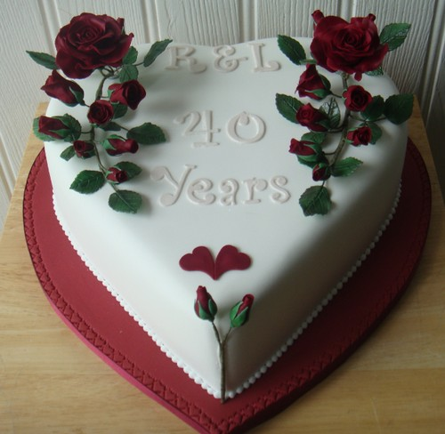 Ruby Anniversary with handmade ruby roses