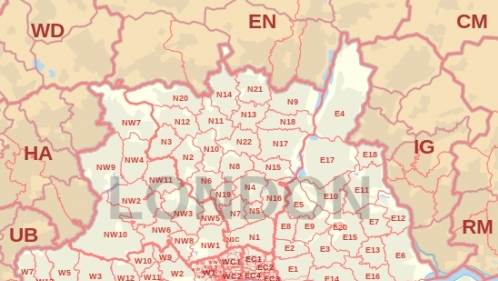 550px London Post Town Map Svg
