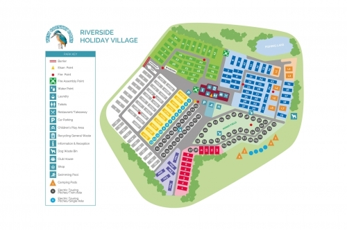 Riverside Holiday Village Map Illustration
