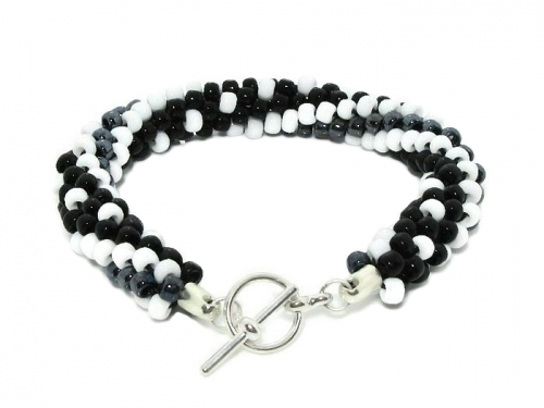 Black White Spots Stripes Kumihimo Bracelet