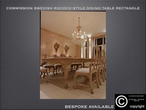 Bespoke Swedish dining table and chairs rococo style many variations available. www.bespokefurnituremakers.company