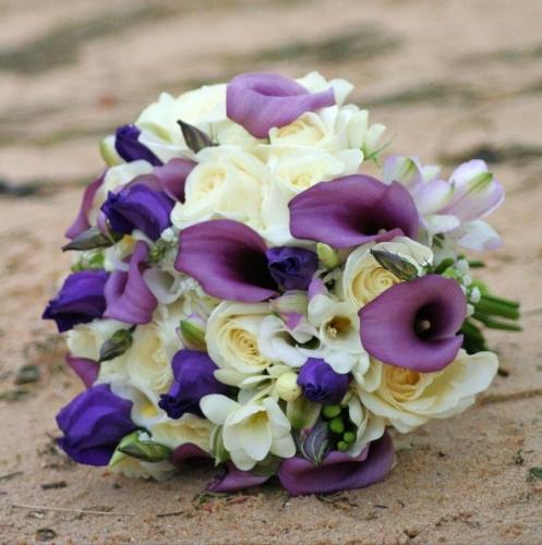 White Rose & Freesia with Purple Calla Bouquet