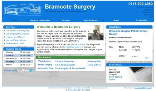 Website developed for Bramcote Surgery, Nottingham