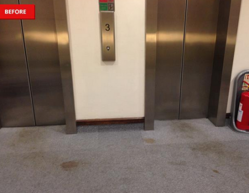 badly stained lift lobby before cleaning