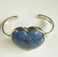 Handmade silver bangle set with a Dumortiorite Heart