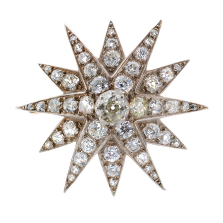 Antique Diamond Star Brooch