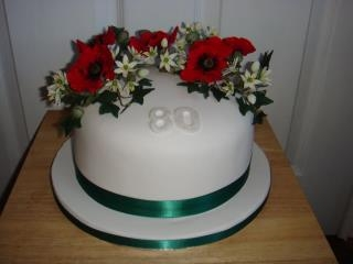 80th Birthday - Poppies, Ivy and Garlic flowers