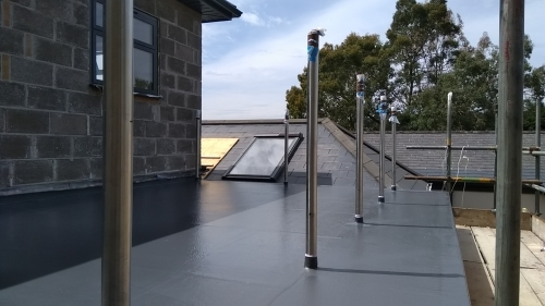 Balcony flat roof with railings