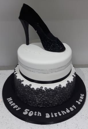 Black Lace and Shoe Cake