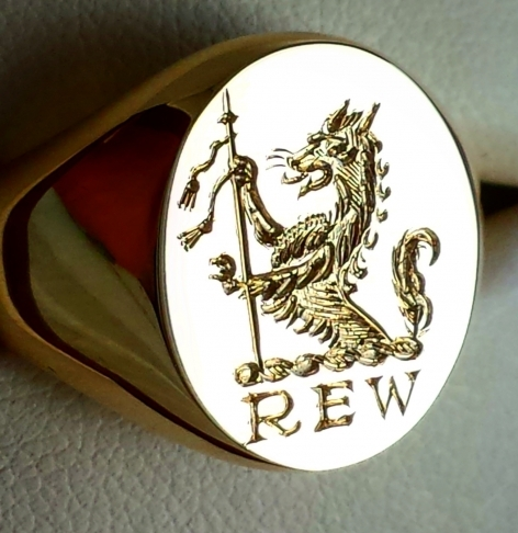 Family Crest And Initials Engraved For Show