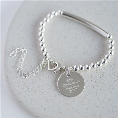 Engraved Sterling Heart Clasp Christening Bracelet