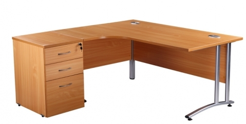LEFT HAND RADIAL CURVE DESK (AVAILABLE IN COLOUR: BEECH AND OAK SIZE: 1600 OR 1800