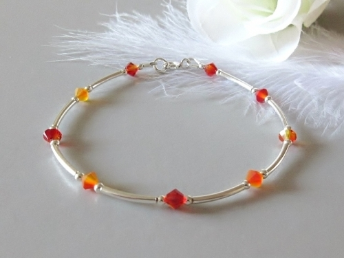 Bespoke Orange Crystal Bracelet With Swarovski Crystals
