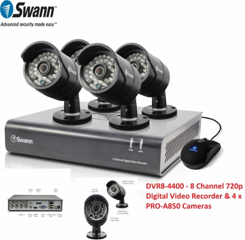 DVR8-4400-UK 8 Channel 720p Digital Video Recorder & 4 x PRO-A850 Cameras