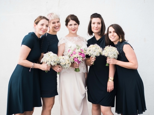 Country Garden Bride And Bridemaids Bouquets With Daisy And Gyp And Pink Rose