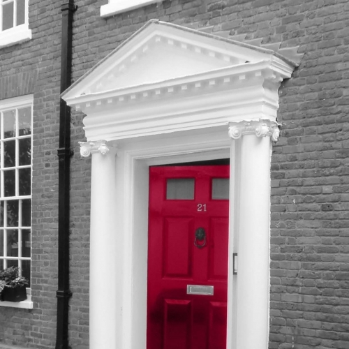 Red Front Door Image From Brochure - Anderson Wilde  Harris Chartered Surveyors