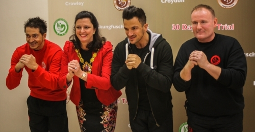 Master Paul Hawkes, The Mayor of Croydon, Peter Andre and Si Fu Alan Paterson