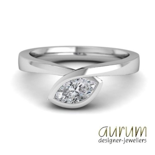 Infinity engagement ring in platinum with marquise diamond