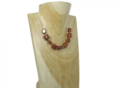 Brown Sandstone Sterling Silver Chain Necklace