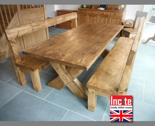 Oblong Plank Bespoke Dining Table With Bench Seats handmade by Incite Interiors