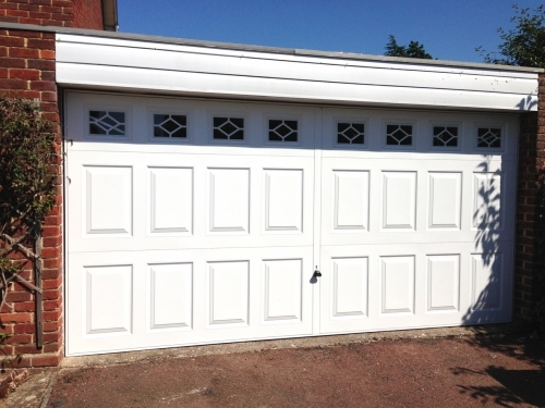 White Steel Double Garage Door with windows