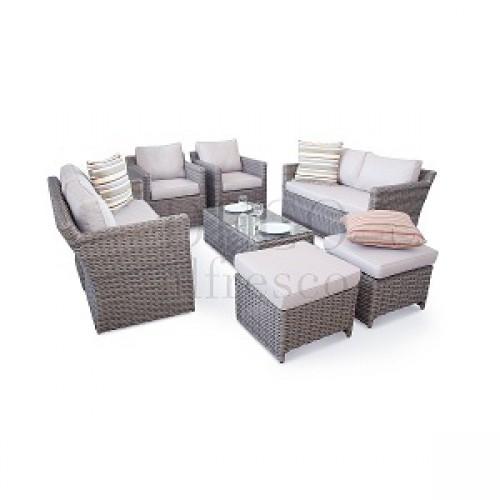 Garden Furniture - Deco Alfresco - Luxury High Back 9PC Grand Sofa Cube Set - Half Moon Rattan
