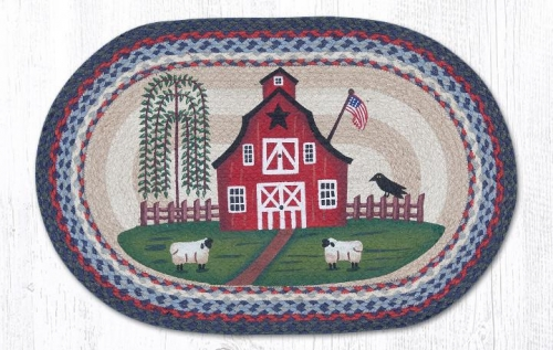 Barn Scene Braided Oval Rug