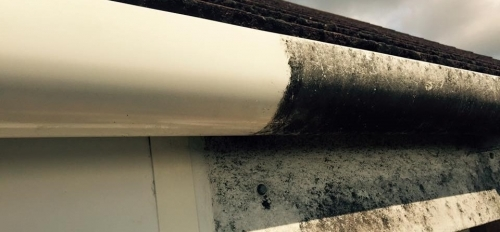 This guttering has been partially cleaned by us
