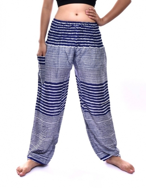 Bohotusk Navy Blue Patch Stripe Print Elasticated Smocked Waist Womens Harem Pants