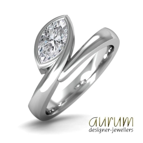 Contemporary engagement ring with marquise diamond