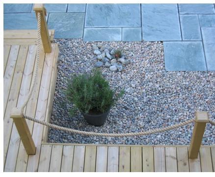Detail of modern twist on a seaside garden