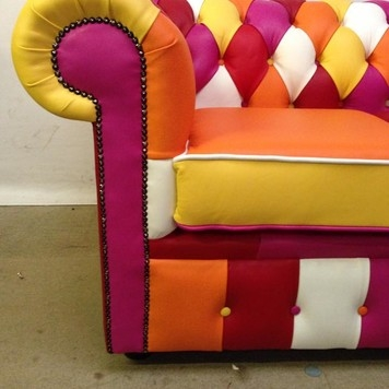Bright, Colourful, Bespoke Leather Sofa, Made to order